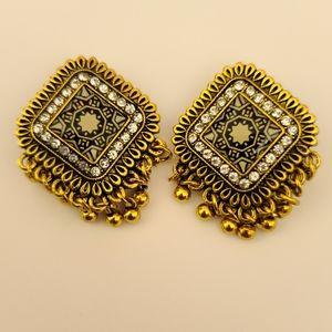 Gold ethnic jhumki earrings